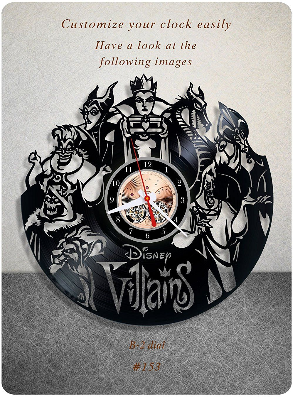 Amazon.com: Disney Villains vinyl clock, vinyl wall clock, vinyl ...
