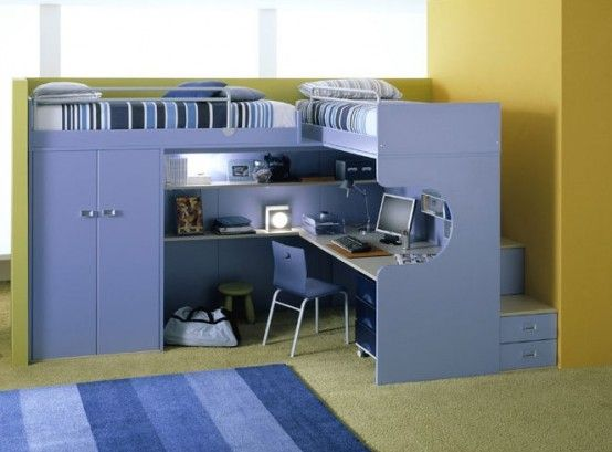 furniture, bunk beds with study kid desk computer childrens table