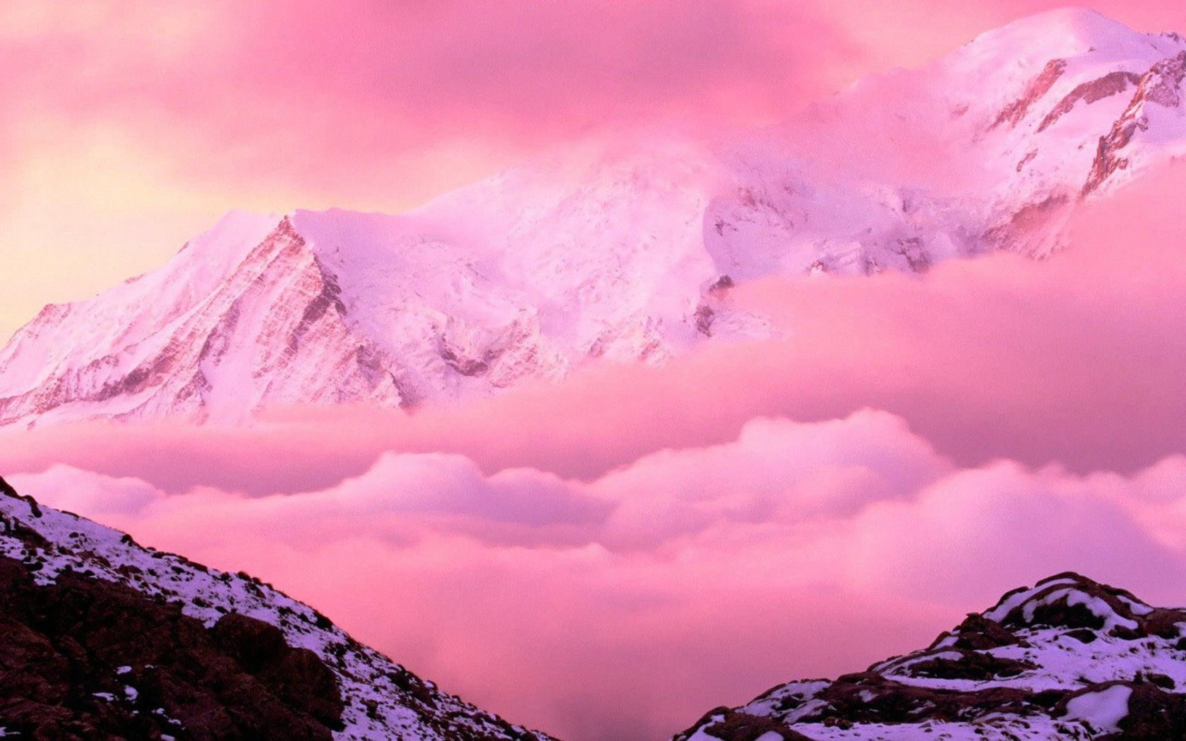 Fondos De Pantalla De Montanas De Color Rosa Tamano 1400x900 Pink Mountains Pink Nature Landscape Wallpaper