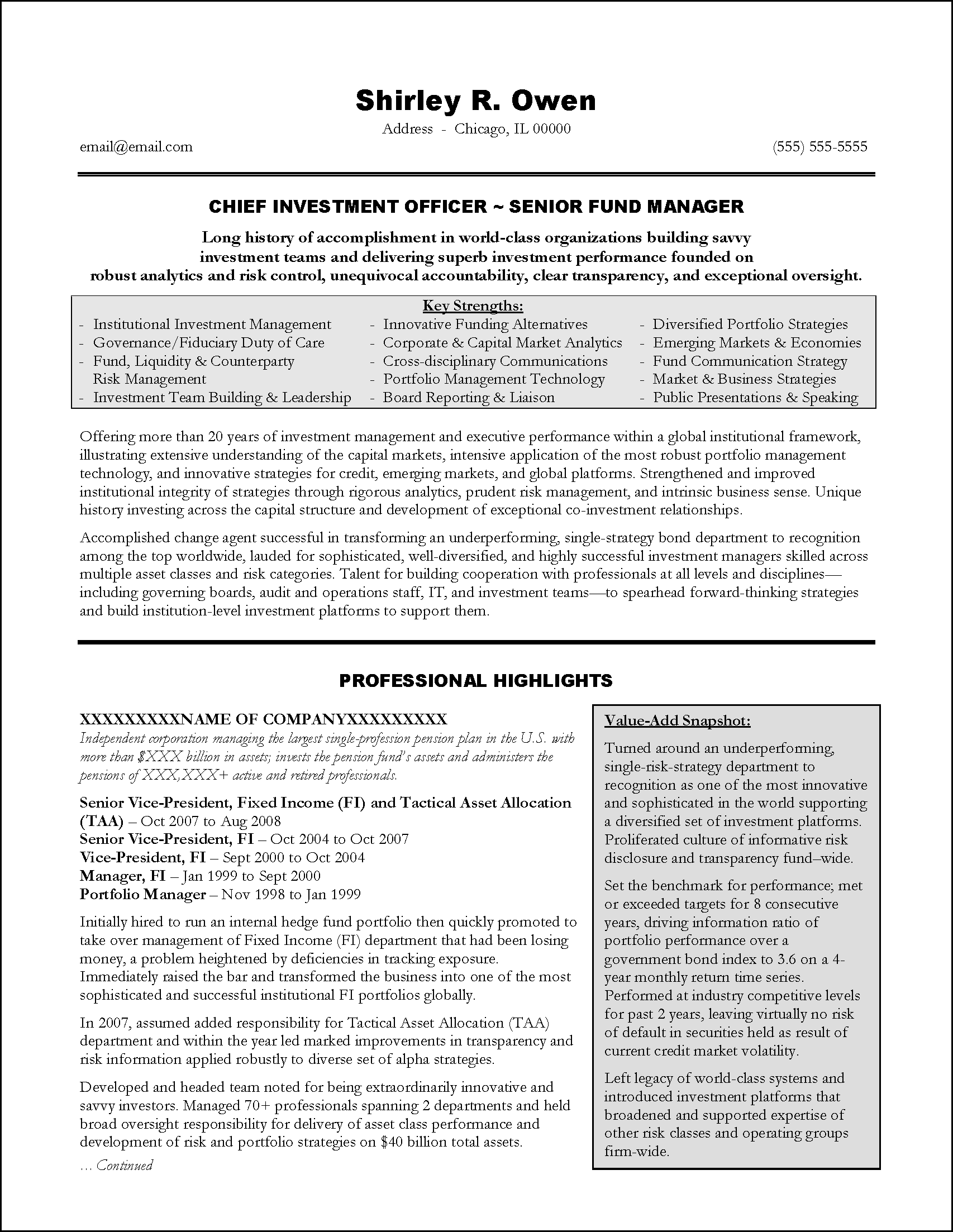 Summary Resume Samples Sample Resumes Executive Writing