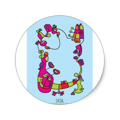 Childrens illustration happy naive cute friend classic round sticker kids stickers gift idea diy decor