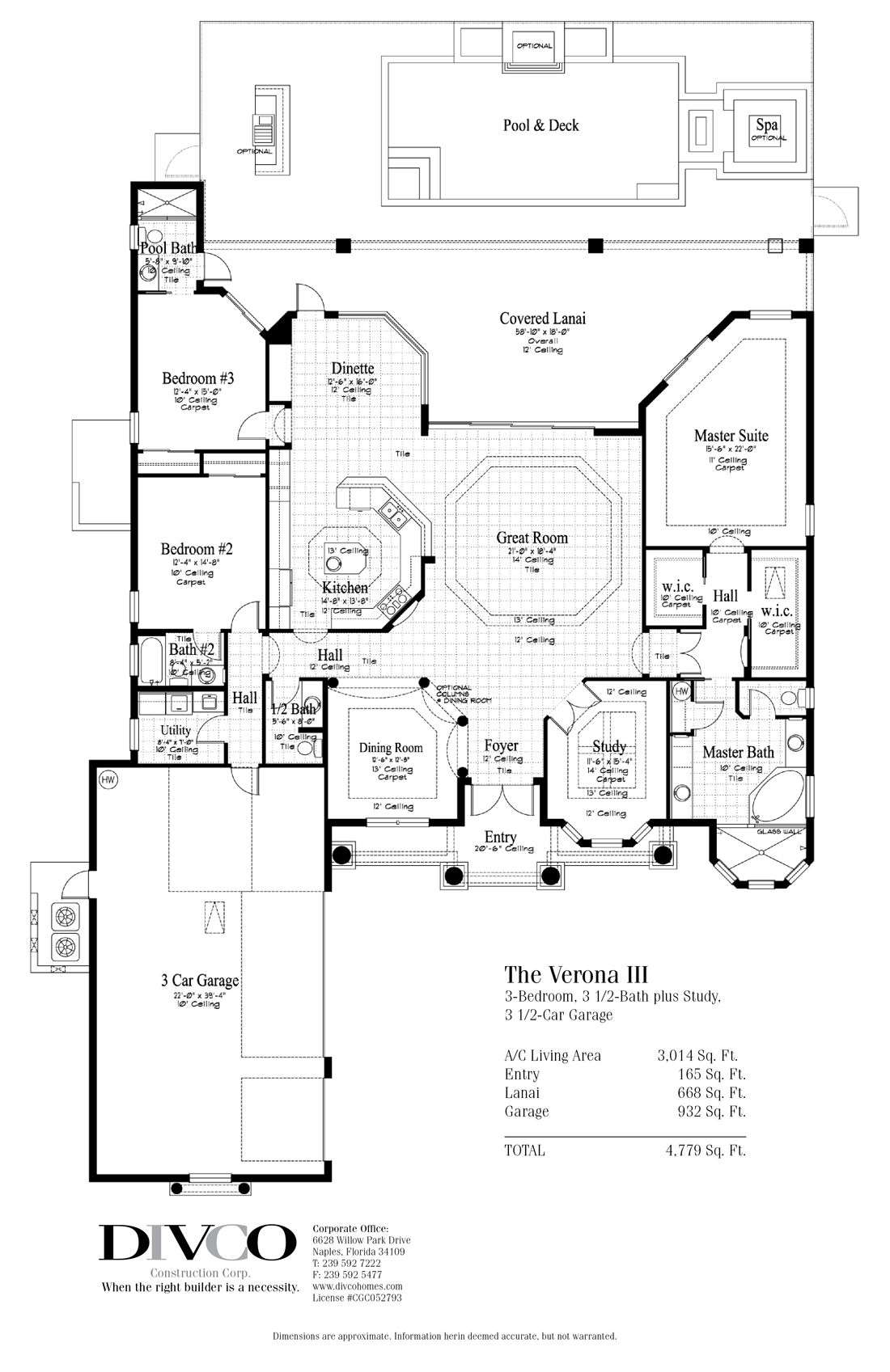 Luxury Home Floor Plans   Custom Home Builder Naples Florida   DIVCO FLOOR  PLAN The Verona