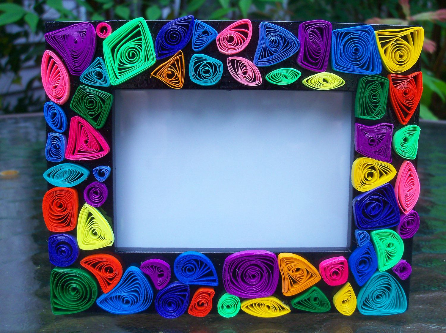 50 new picture frame colorful paper quilled embellished wooden frame 2 x 3 inch jeuxipadfo Gallery