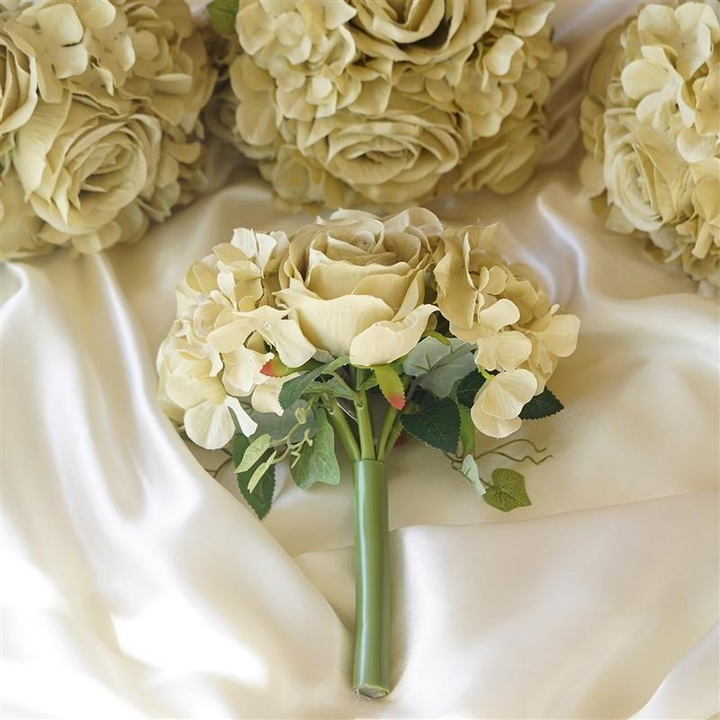 2 Pack Champagne Rose Hydrangea Artificial Silk Flowers Bouquet Artificial Flowers Wedding Bridal Bouquets Champagne Silk Flower Bouquets