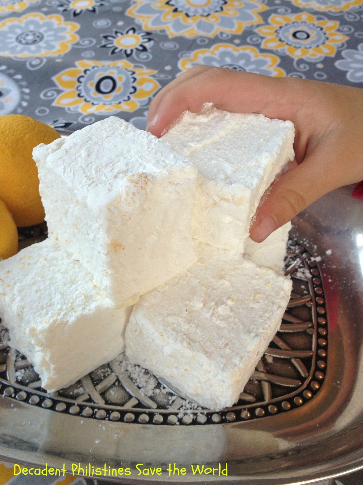 Homemade Lemon Marshmallows as big as your fist! By Decadent Philistines Save the World