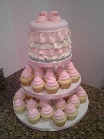 baby girl cupcake tower  google search  baby shower idea's for, Baby shower invitation