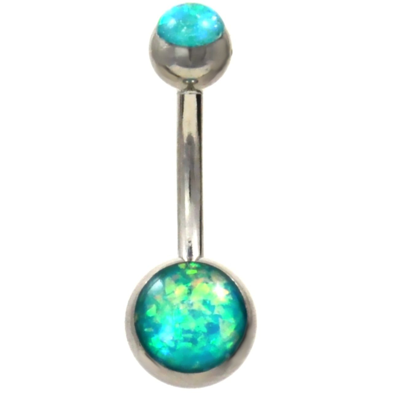 Glitter Opal Gold Belly Bars Navel Button Bar Body Piercing Jewellery