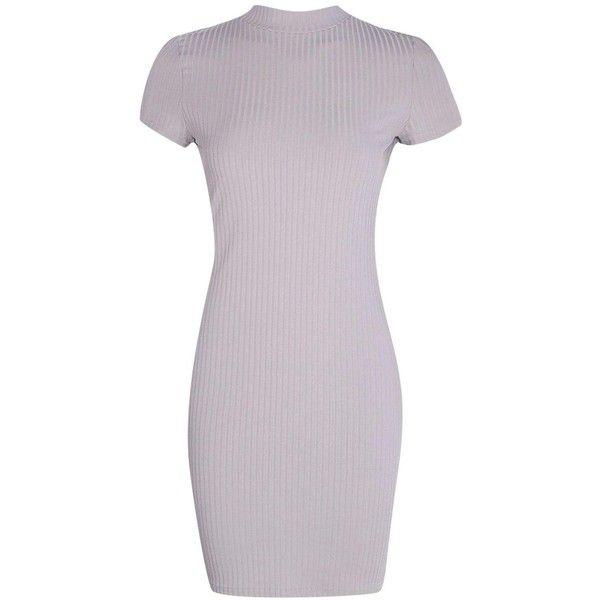 Boohoo Ali High Neck Cap Sleeve Rib Bodycon Dress ($14) ❤ liked on ...
