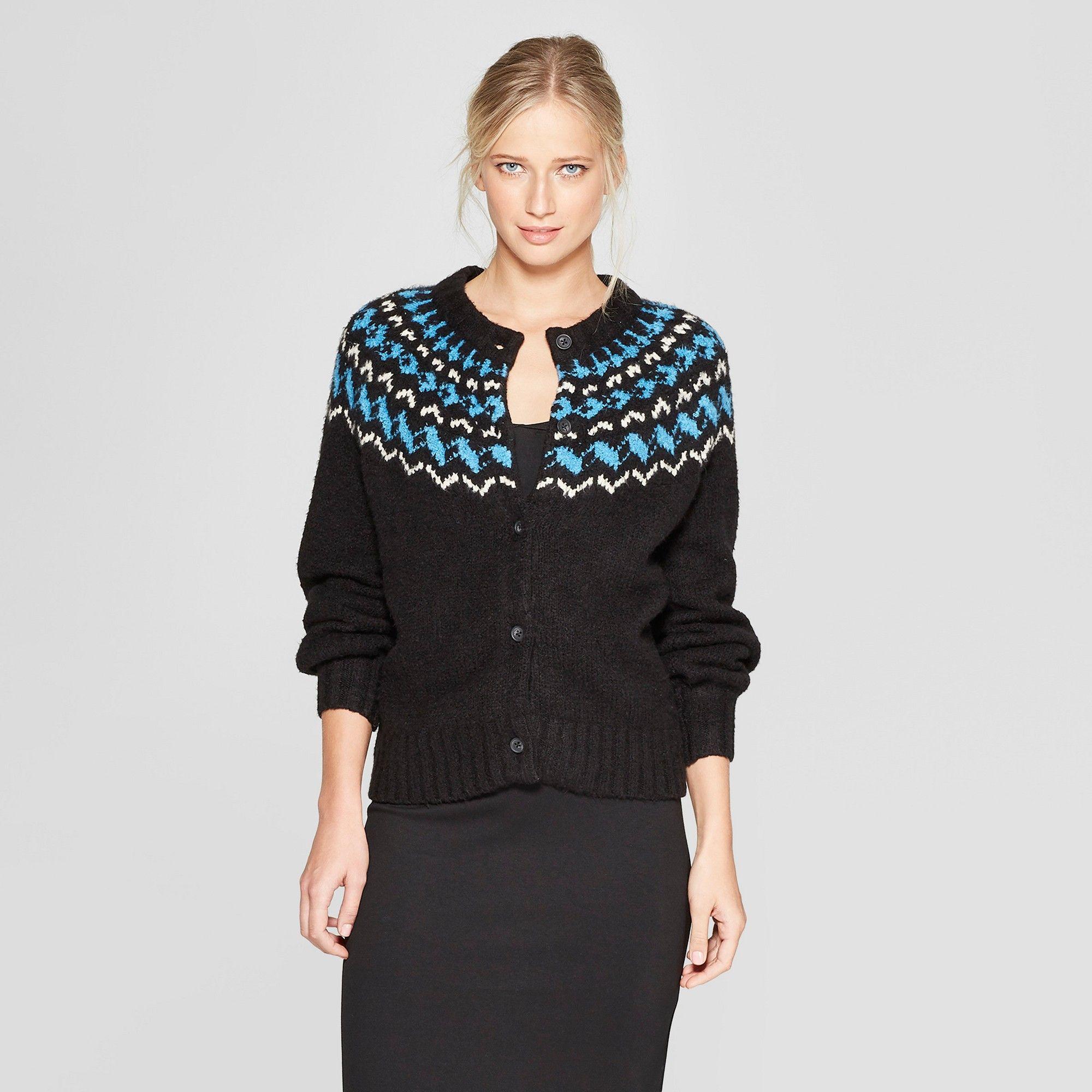 03d861801e3 Women s Long Sleeve Fair Isle Cardigan - Who What Wear Black Xxl ...