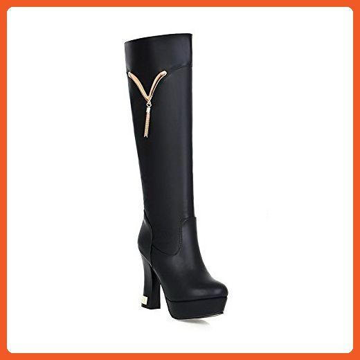VogueZone009 Womens PU High-top Solid Zipper High-Heels Boots