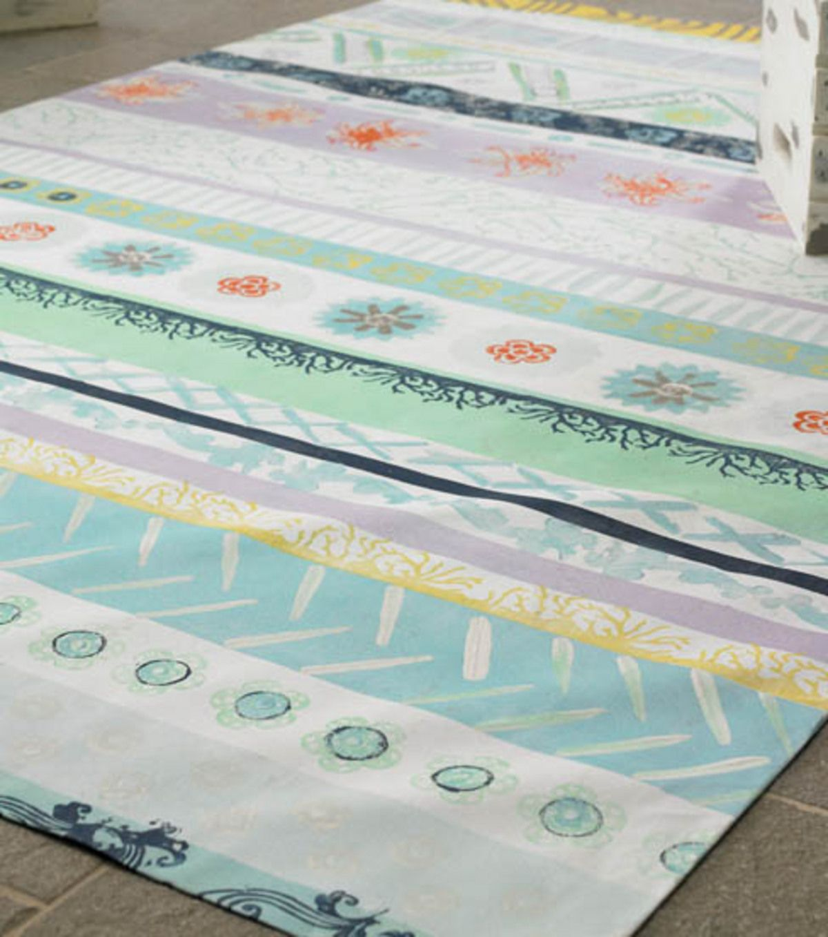 Seascape Painted Floor Cloth Diy Decor Painted