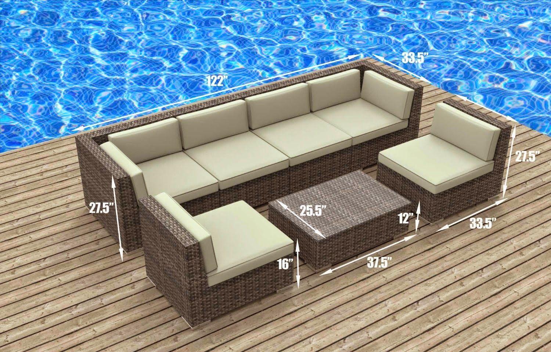 Uduka Outdoor Sectional Patio Furniture Espresso Brown Wicker Sofa Set Porto 7 Turquoise Wicker Patio Set Outdoor Wicker Patio Furniture Rattan Patio Furniture