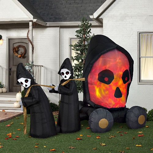 Halloween Inflatable Scary Decoration 7ftFire  Ice Skull Coach - halloween inflatable decorations