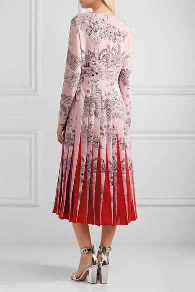 Valentino - Pleated Printed Silk Crepe De Chine Midi Dress - Pastel pink