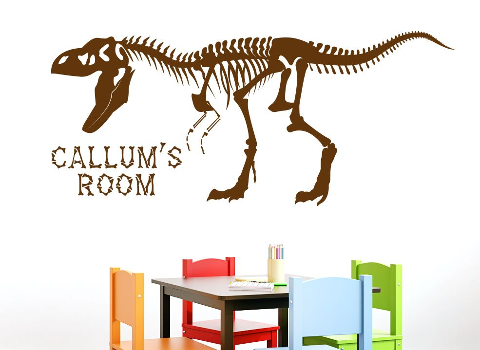 This t rex dinosaur skeleton wall art sticker can be personalised with any name or text you like these wall stickers are perfect for boys bedrooms