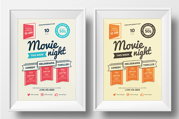 Movie Night Poster Template By Everydaytemplate On Creative Market