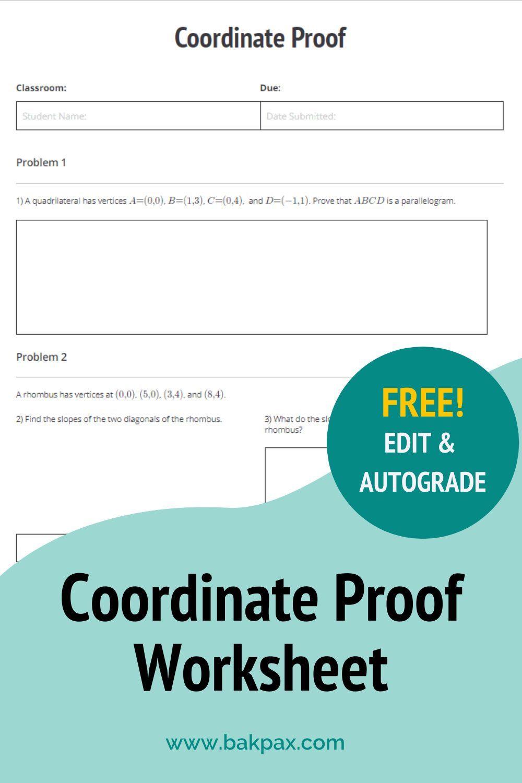 Free Coordinate Proof Geometry Worksheet In 2020 Geometry Worksheets Geometry Proofs Worksheets