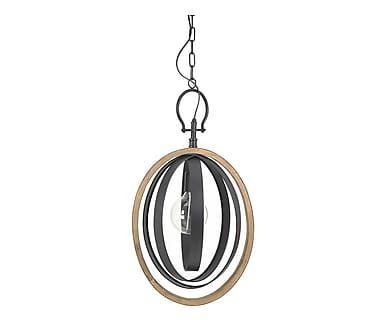 Lampada a sospensione in metallo e abete nero, 39x60/173x26 cm