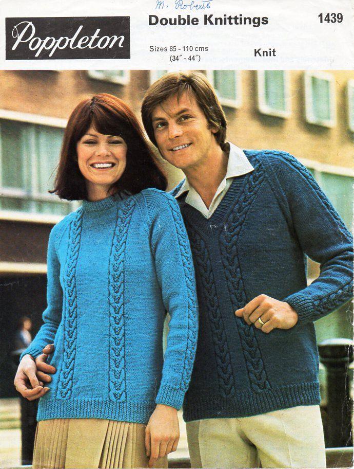 ladies / mens sweater knitting pattern PDF DK womens cable panel ...