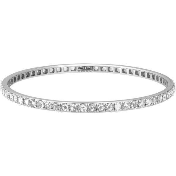 Tiffany Co Estate Metro 18k White Gold Diamond Bangle Bracelet