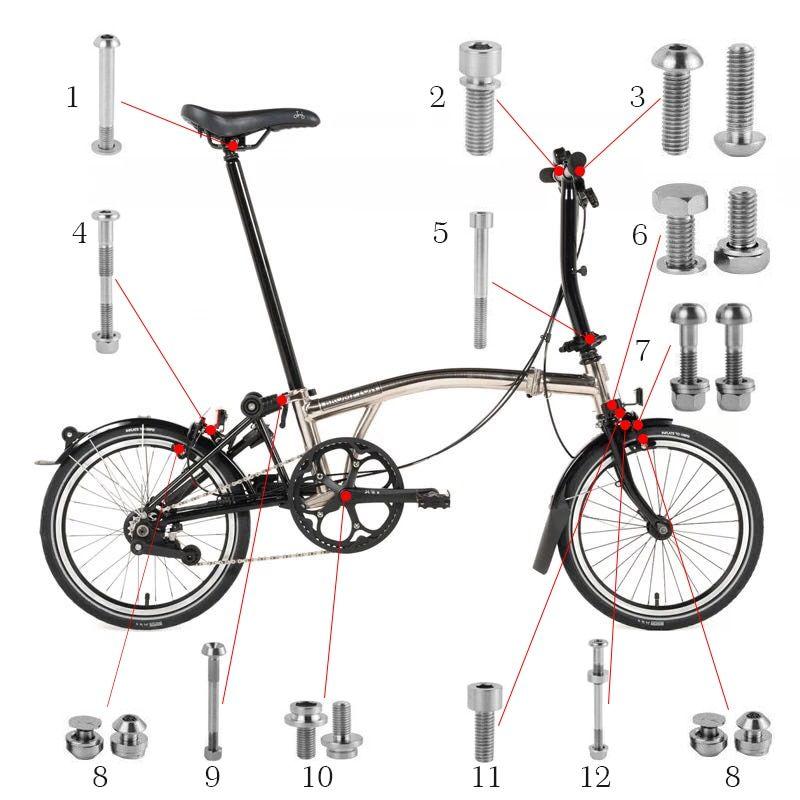 Bike Bicycle Titanium Bolts Screws Set For Brompton Titanium