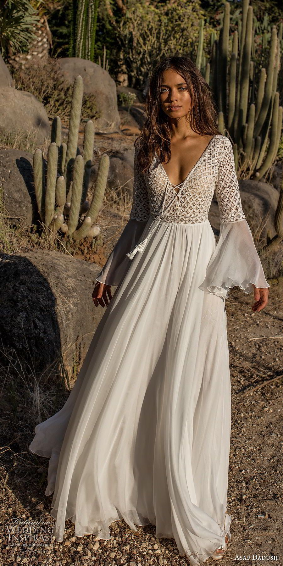 Asaf dadush bridal long lantern sleeves deep v neckline heavily