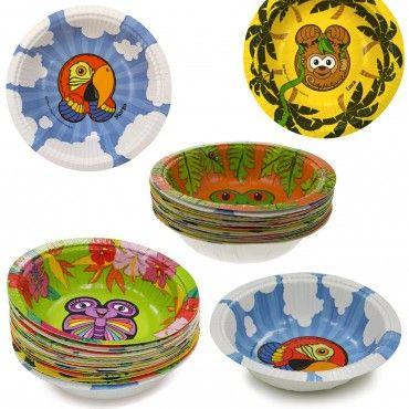 60ct Hefty Zoo Pals Rainforest Animals 10oz Disposable Bowls Rainforest Animals Disposable Bowls Bowl