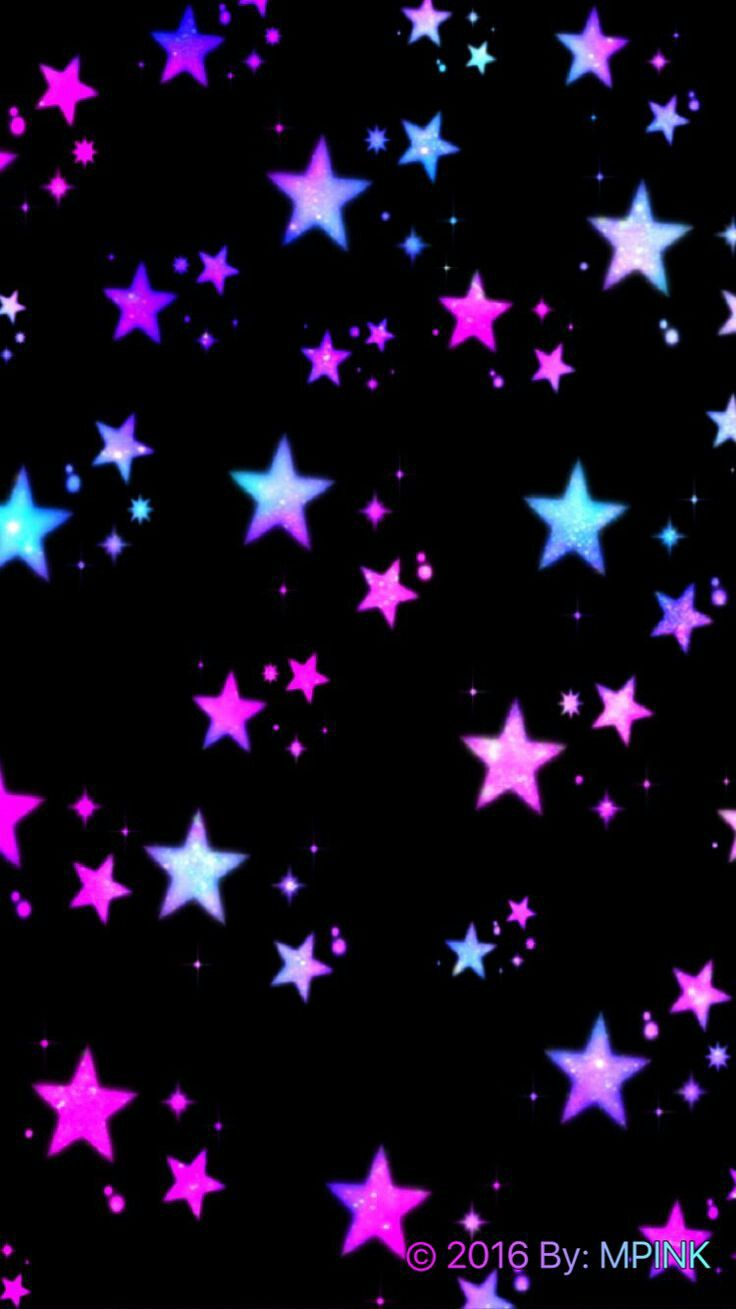 Black and pink and blue Star wallpaper, Neon wallpaper