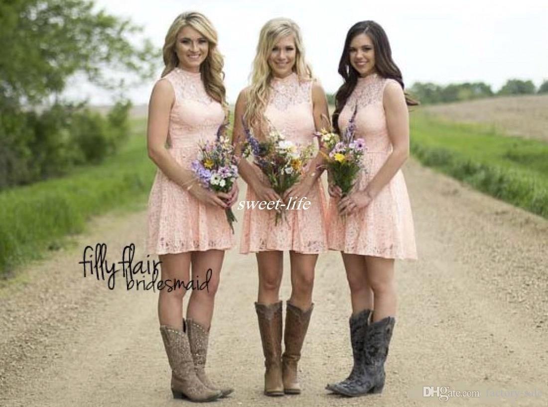 pink lace short bridesmaid dresses junior bridesmaid wedding