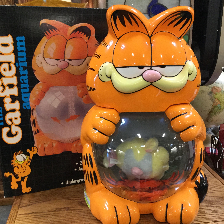 rare HTF Garfield aquarium fish tank with original box $89 95 in