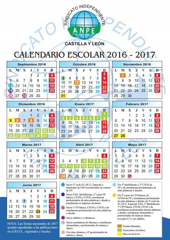 Calendario escolar 2016-17. - Centros y plantillas - ANPE Castilla y ...