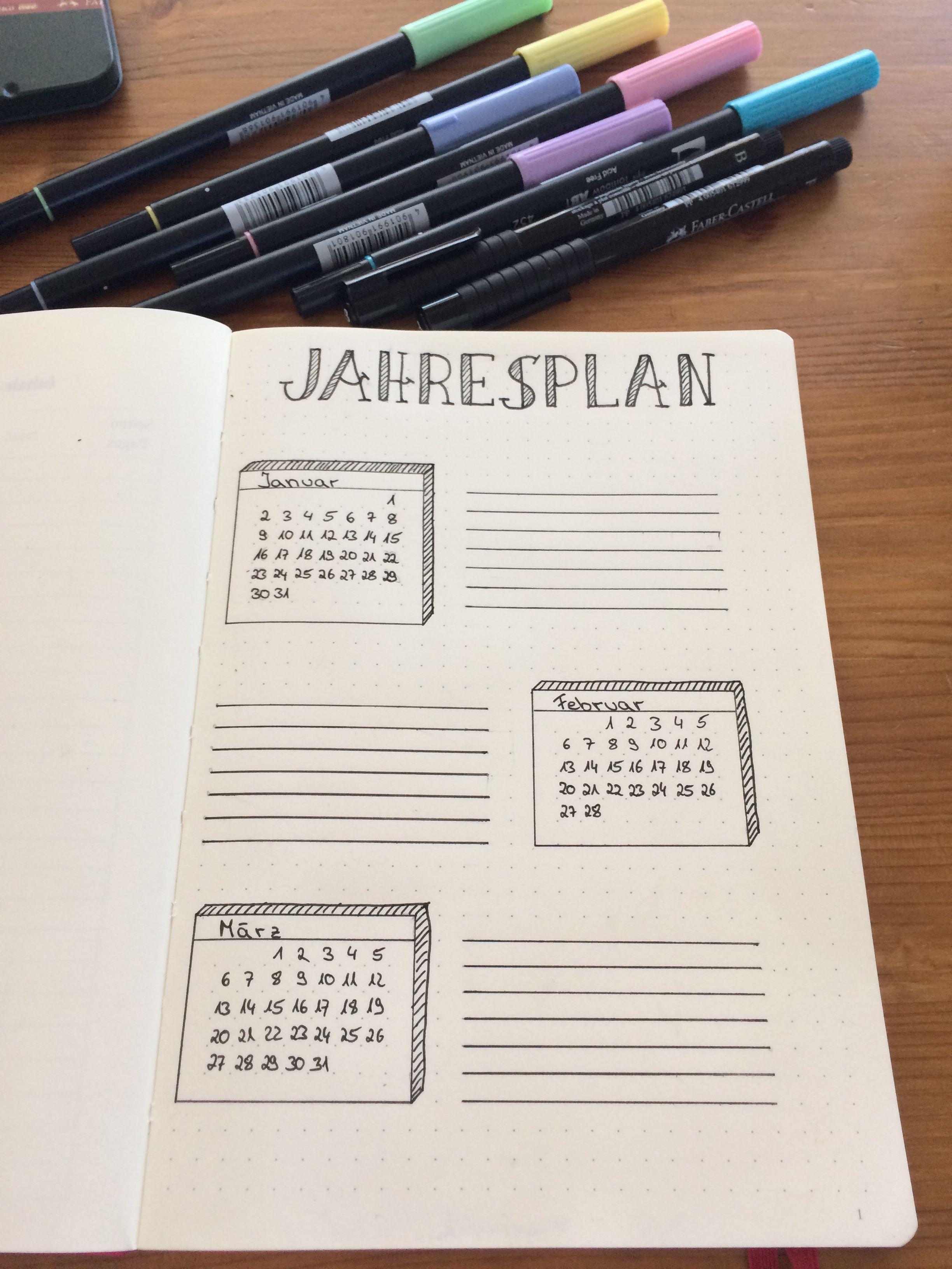 Bullet journal. Jahresüberblick. Erste Seite     Bullet Journal ...