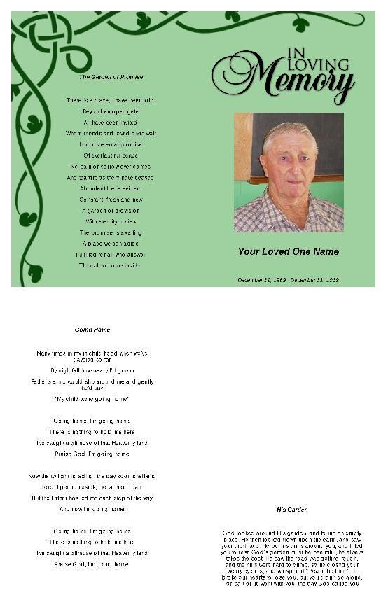 Irish Green Funeral Program Template Program Template