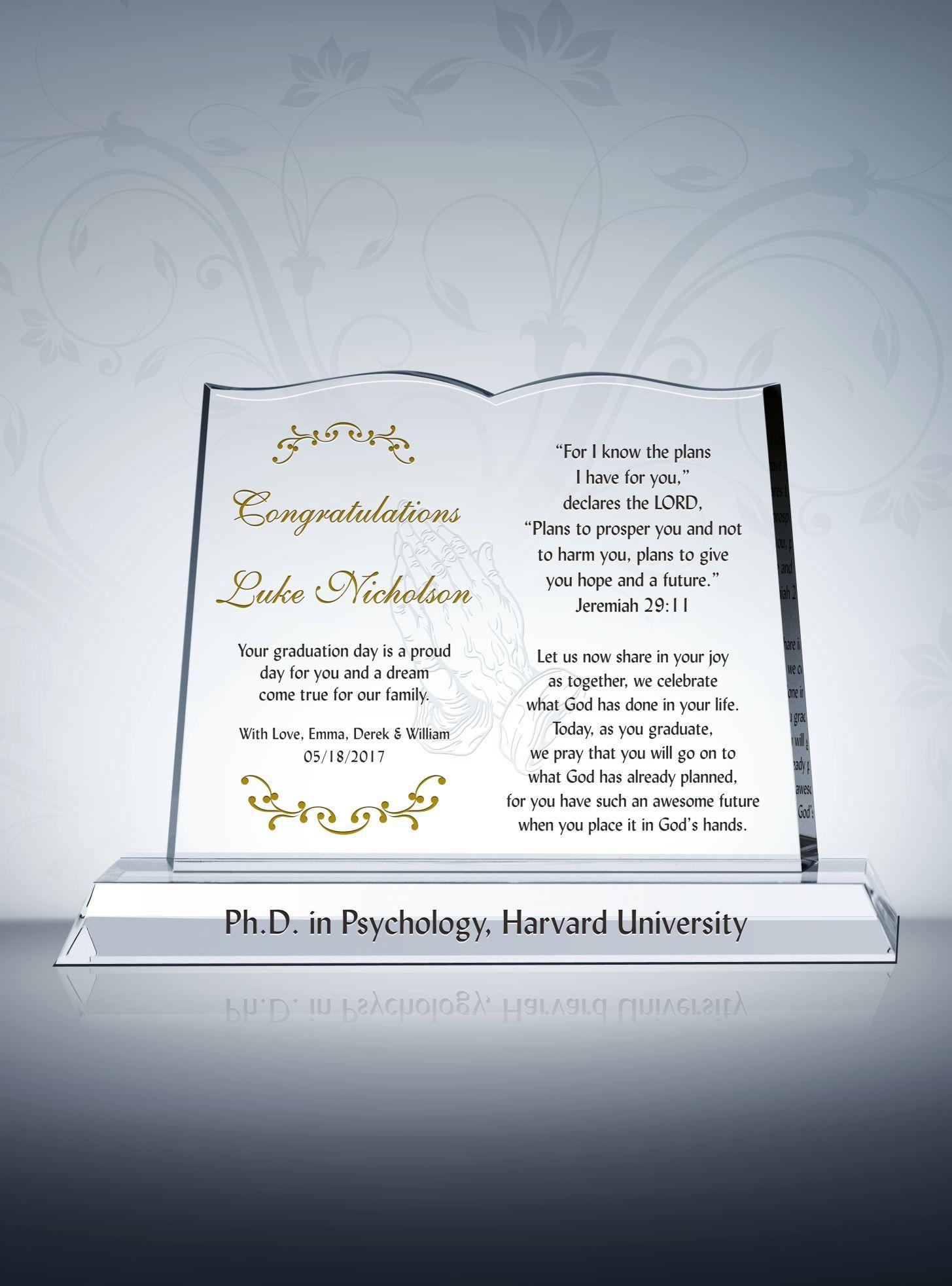 christian graduation gift plaque