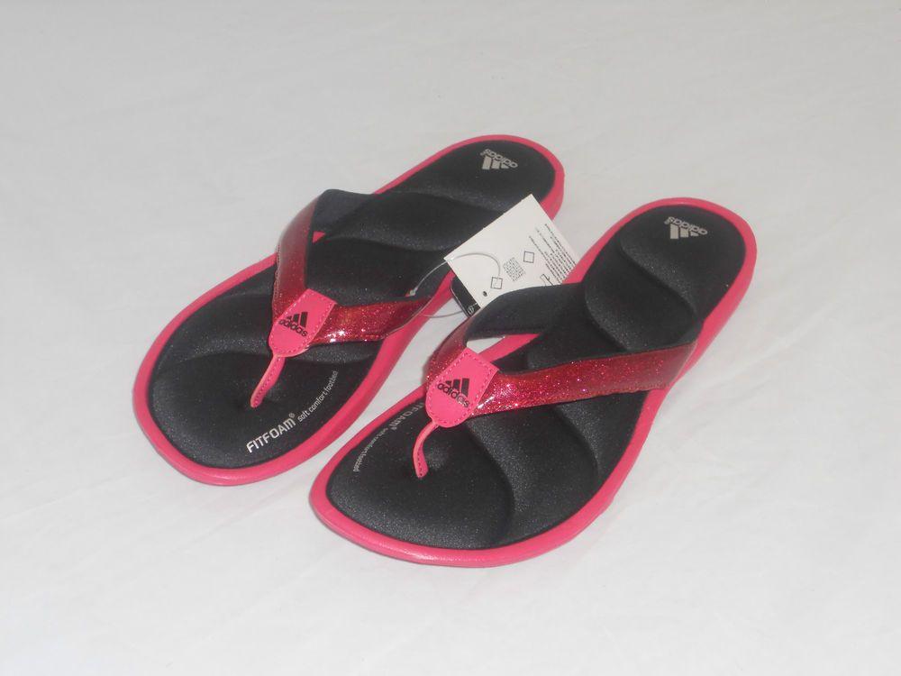 Adidas Women Padded Flip Flops Slides Sandal 9 Glitter Blk -5128