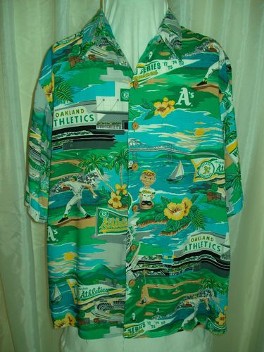 a70aa0e9 Mens Reyn Spooner Oakland A's Athletics Baseball Rayon Blue Hawaiian Shirt  for sale at irishcherrydoll.com