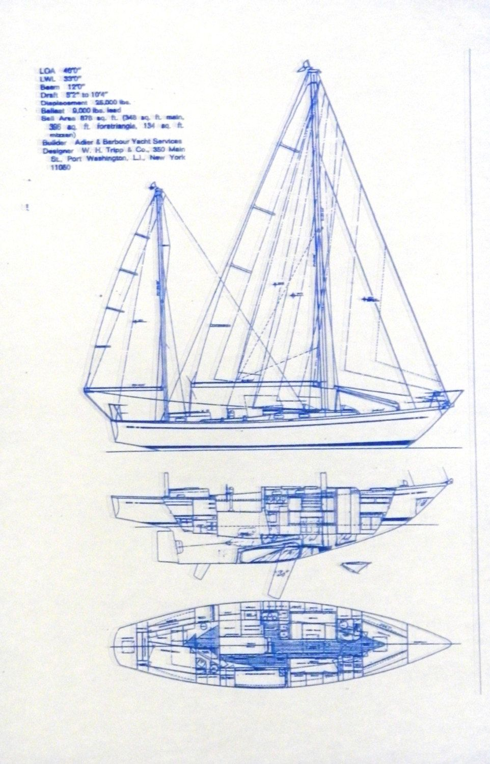 Blueprint to a full keeled yawl with a centerboard  This kind of