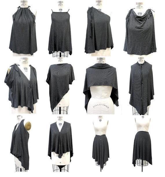 Unique Black Gray Convertible Clothing Gray Black Striped