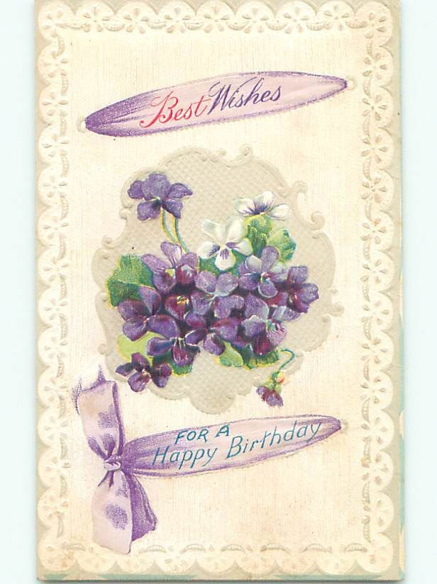 Pre-Linen PURPLE FORGET-ME-NOT FLOWERS WITH RIBBON FOR BIRTHDAY J2939