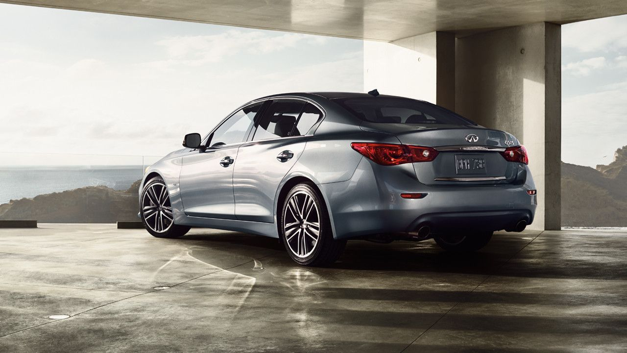 2017 infiniti q50 3 0t sport exterior rear view in hagane blue parked