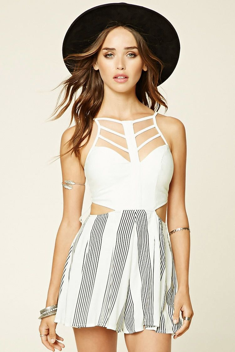 A woven romper by Selfie Leslie™ featuring a strappy front and back, sweetheart neckline, waist cutouts, a striped skirt, and an exposed back zipper.