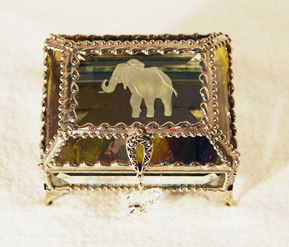 Elephant Carved Glass Jewelry Box Faberge by FabergeStyleBoxes For