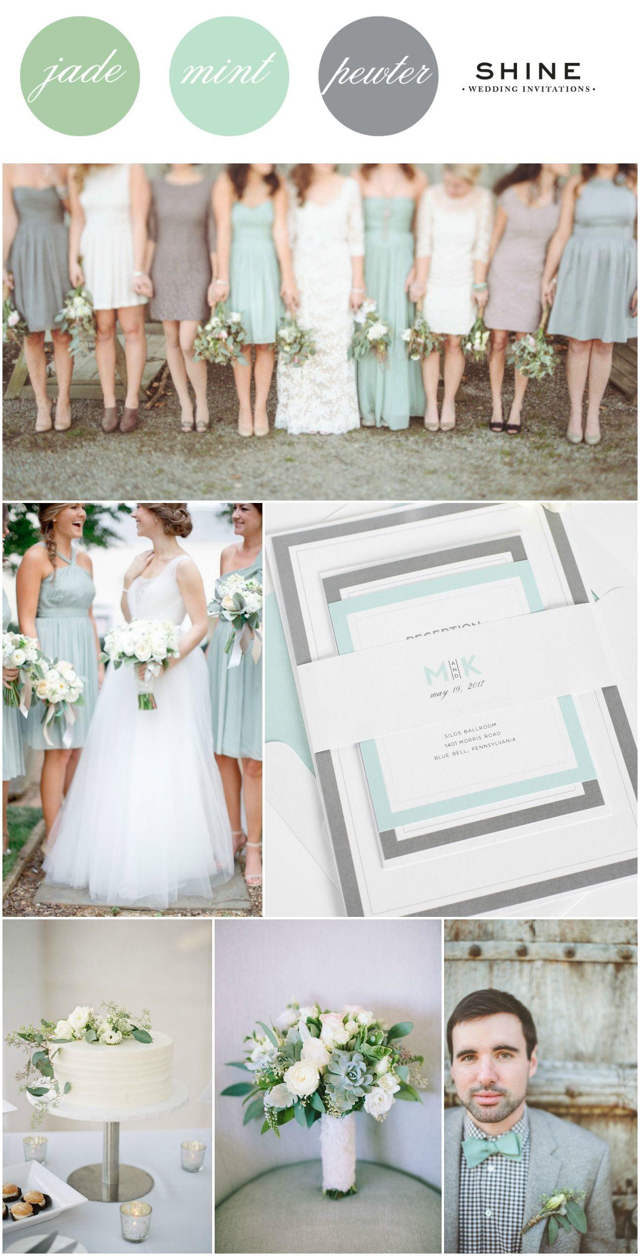 Mint + Jade + Pewter Wedding Inspiration | Pinterest | Shine wedding ...