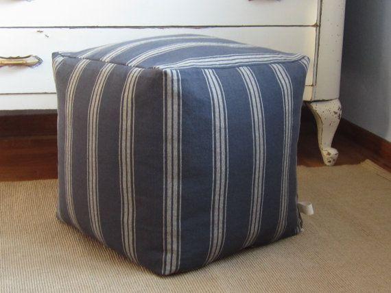 Fabulous Grain Sack Square Pouf 16X16X16 Grain Sack Floor Pillow Machost Co Dining Chair Design Ideas Machostcouk