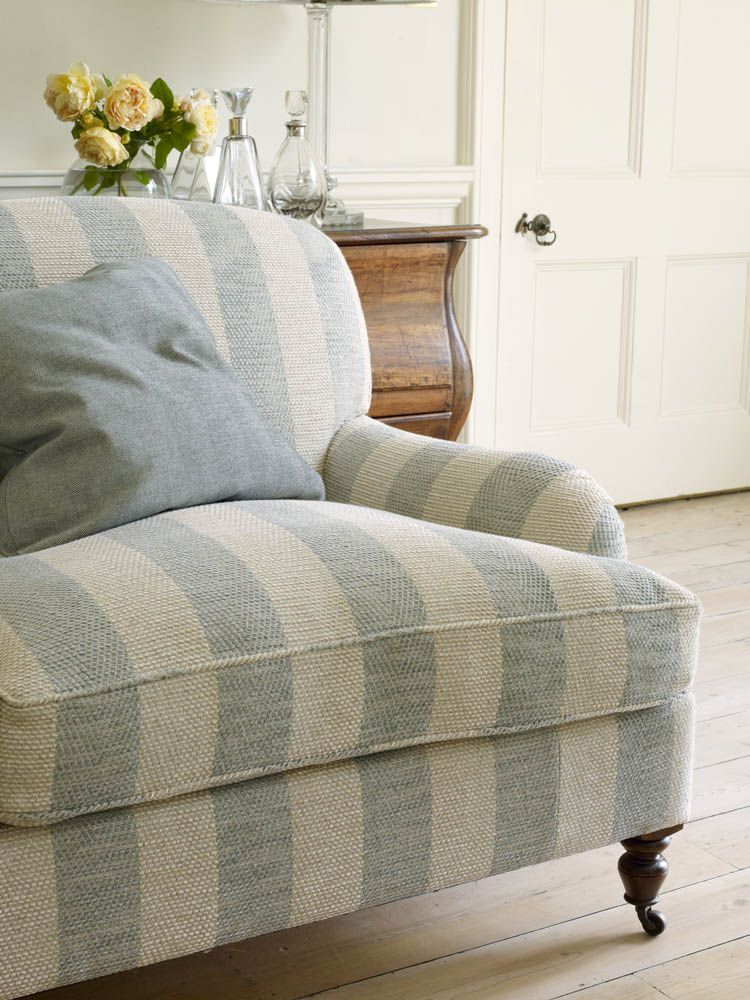 Very Simple, Yet Classy And Refined. In My Opinion, THIS Is Having Taste.)  Pale Blue And Cream Cabana / Large Stripe Overstuffed Chair.