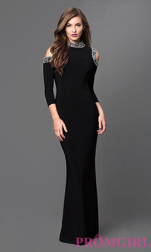 Mock Neck Cold Shoulder Black Long Formal Dress By Marina A Bris