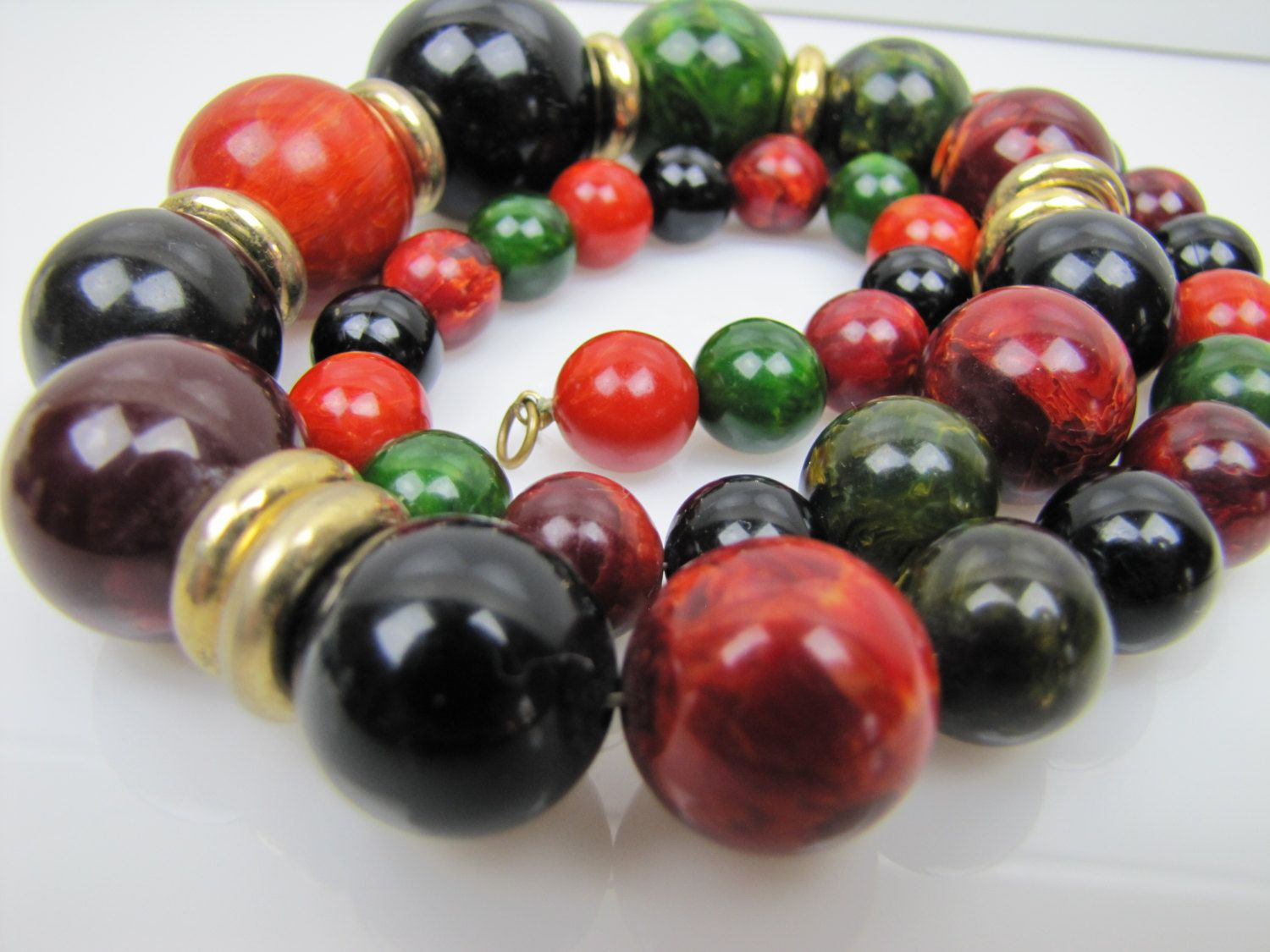 Vintage Bakelite & Brass Long Beaded Necklace. Mottled Marbled Multi Color Graduated Beads. Chunky Bakelite Necklace. 35 grams by MercyMadge on Etsy