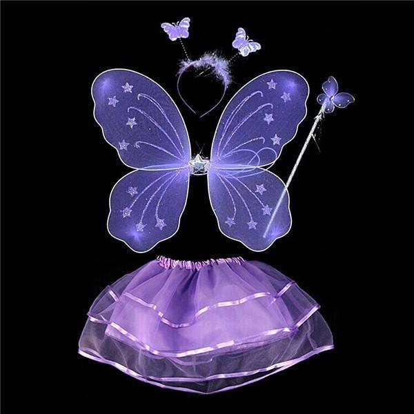 Kids Baby Girls 4Pcs Fairy Costume Set Headband Butterfly Wings Wand Tutu Skirt