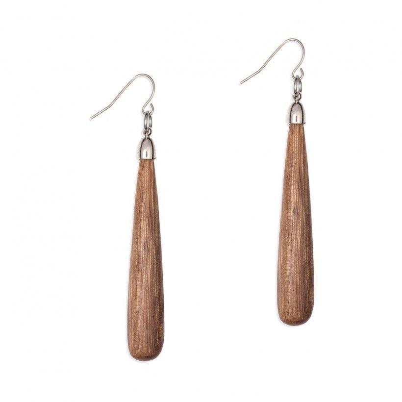 Boucle d'oreille pendante bois