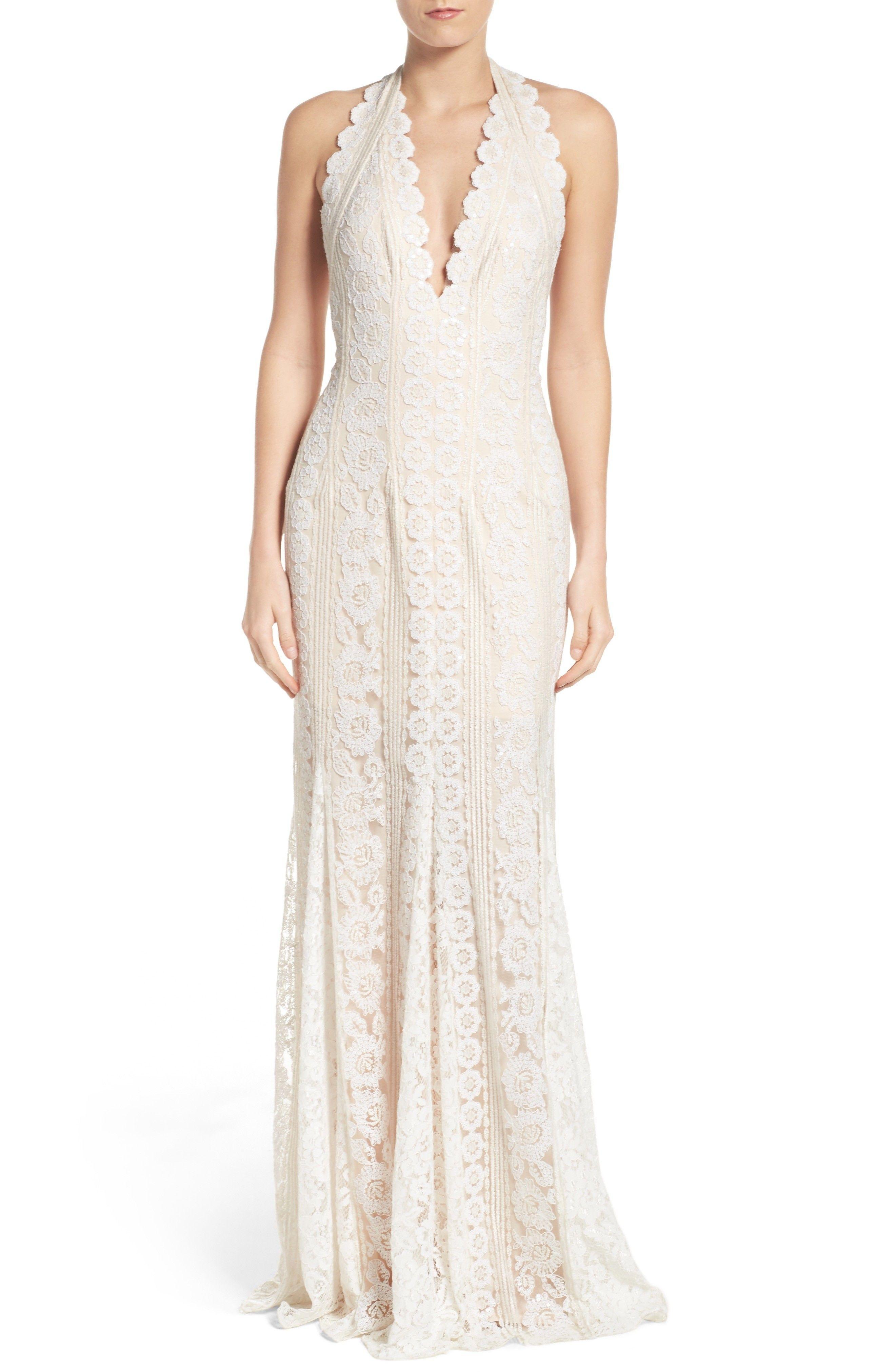 Lace dress for wedding  New Tadashi Shoji Deep V Lace Gown Soft White Grey fashion dress